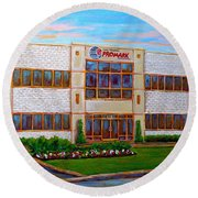 Promark Electronics 215 Voyageur Street Pointe Claire Montreal Scene Round Beach Towel