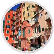 promenade and homes in Camogli Round Beach Towel