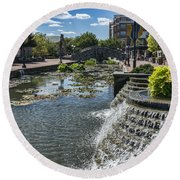 Promenade And Waterfall In Carroll Creek Park In Frederick Mary Round Beach Towel