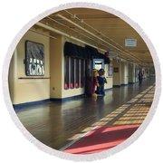 Promenade Deck Queen Mary Ocean Liner 01 Round Beach Towel