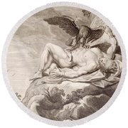 Prometheus Tortured By A Vulture Round Beach Towel