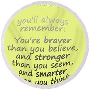 Promise Me - Winnie The Pooh - Yellow Round Beach Towel