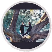Proposing In A Tree Round Beach Towel