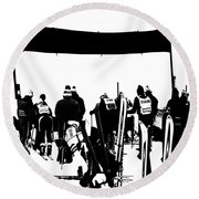 Pros Looking Over The Course Round Beach Towel