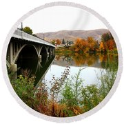 Prosser Bridge And Fall Colors On The River Round Beach Towel
