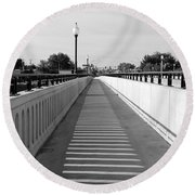 Prosser Bridge Perspective - Black And White Round Beach Towel