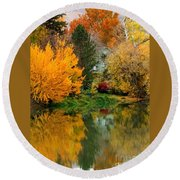 Prosser - Fall Reflection With Hills Round Beach Towel
