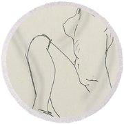 Prostrate Female Nude Round Beach Towel