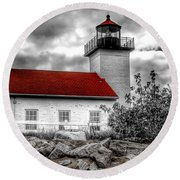 Protector Of The Harbor - Sand Point Lighthouse Round Beach Towel