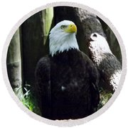 Proud Eagle Round Beach Towel