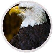 Proud Eagle Profile Round Beach Towel