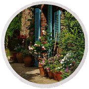 Provencal Alley Round Beach Towel