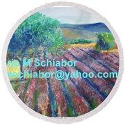 Provence Lavender Field Round Beach Towel