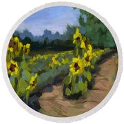 Provence Sunflower Field Round Beach Towel