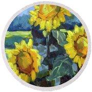 Provence Sunflower Trio Round Beach Towel