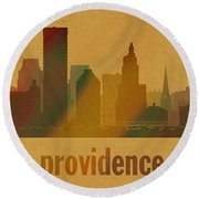 Providence Rhode Island City Skyline Watercolor On Parchment Round Beach Towel