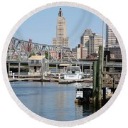 Providence River And Point St Bridge Round Beach Towel