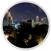 Providence Skyline At Dusk Round Beach Towel