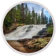 Provo River Falls 2 Round Beach Towel