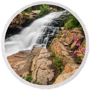Provo River Falls 3 Round Beach Towel