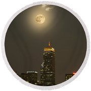 Prudential Tower With Supermoon 2013 Round Beach Towel