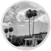 Ps City Hall Front Bw Palm Springs Round Beach Towel