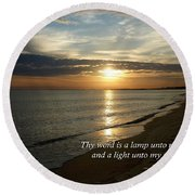 Psalm 119-105 Your Word Is A Lamp Round Beach Towel