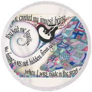 Psalm 139 Round Beach Towel