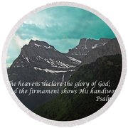 Psalm 19 1 On The Rocky Mountains Round Beach Towel