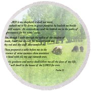 Psalm 23 The Lord Is My Shepherd Round Beach Towel by Susan Savad