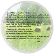 Psalm 23 The Lord Is My Shepherd Round Beach Towel