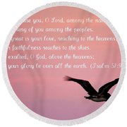 Psalm With Pelican And Pink Sky Round Beach Towel