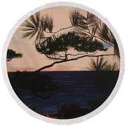 Psalms 136 Verse 7 And 8 Right Panel Round Beach Towel