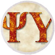 Psi Upsilon - Parchment Round Beach Towel