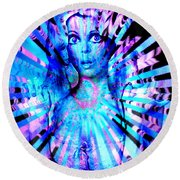 Psychedelic Barbie Round Beach Towel