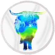 Psychedelic Bovine #2 Round Beach Towel