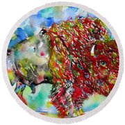 Psychedelic Buffalo Round Beach Towel