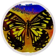 Psychedelic Butterfly Round Beach Towel