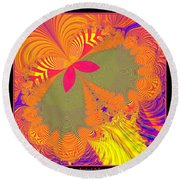 Psychedelic Butterfly Explosion Fractal 61 Round Beach Towel