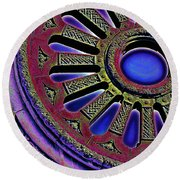 Psychedelic Church Window Round Beach Towel
