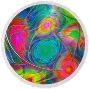 Psychedelic Colors Round Beach Towel