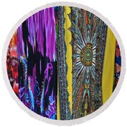 Psychedelic Dresses Round Beach Towel