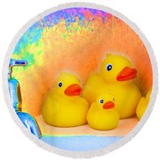 Psychedelic Ducks And Faucet Round Beach Towel