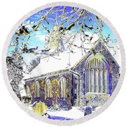 Psychedelic English Village Church In Winter Round Beach Towel