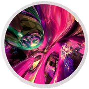 Psychedelic Fun House Abstract Round Beach Towel