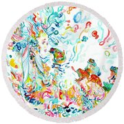 Psychedelic Goddess With Toads Round Beach Towel