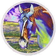 Psychedelic Horse Round Beach Towel