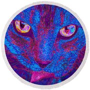 Psychedelic Kitty Round Beach Towel