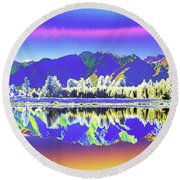Psychedelic Lake Matheson New Zealand 2 Round Beach Towel