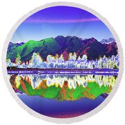 Psychedelic Lake Matheson New Zealand Round Beach Towel
